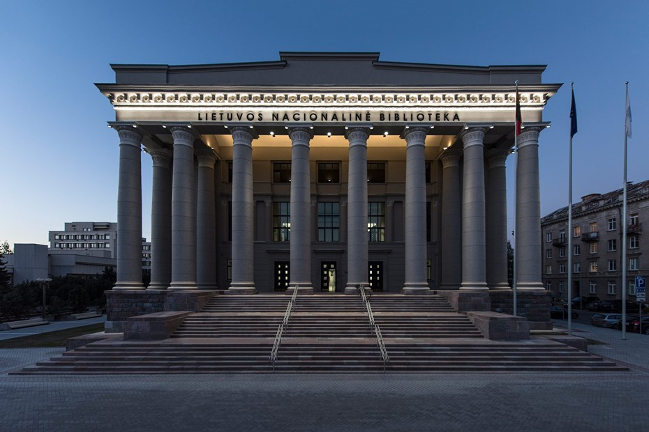 The facade of the National Library of Lithuania, Vilnius