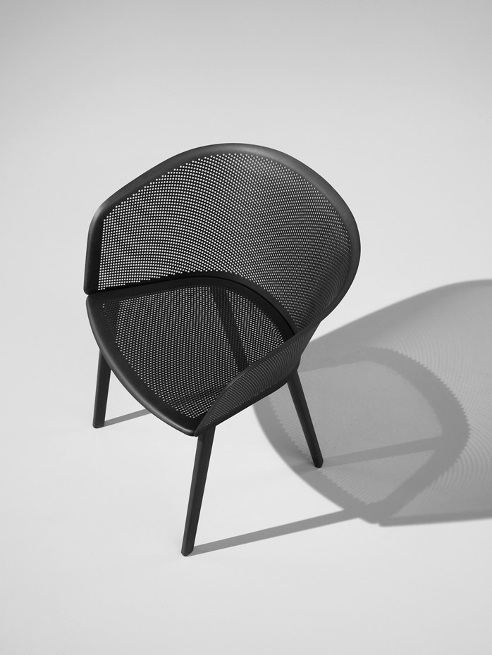 KETTAL STAMPA chair, the perforated metal shell