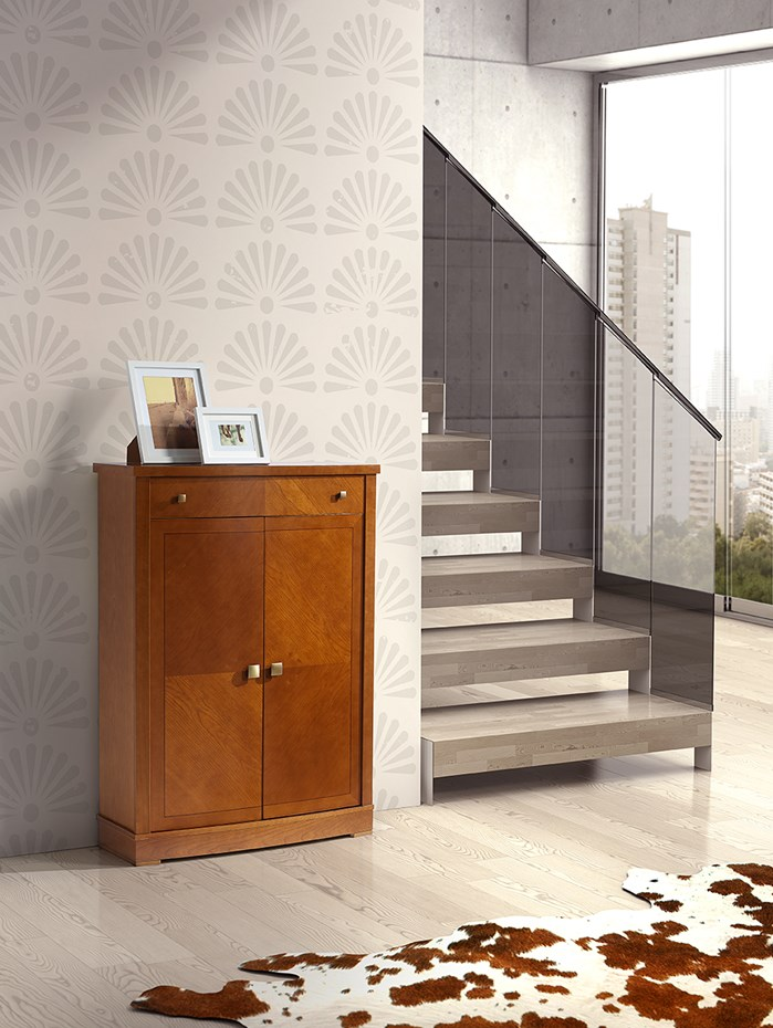Linear design and precious finishes for contemporary spaces: shoe cabinet model 569.090