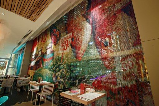 Interior of the new branch of Wahaca in Canary Wharf, UK