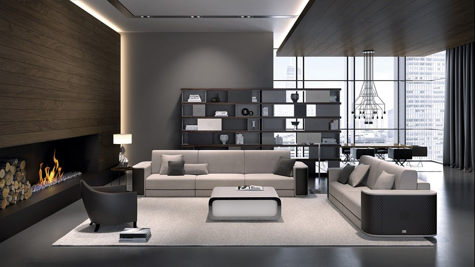 MASTER lounge ambience with DETROIT modular bookcase, COLECCION ALEXANDRA