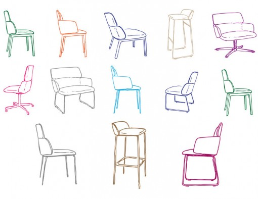 Sketches of the new CONCORD seating collection, created by Claesson Koivisto Rune for CAPDELL