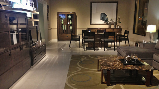 The MON collection with a SOHO coffee table in one of the rooms of the High Point showroom