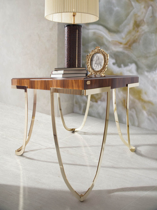 SAVOY occasional table with gold plated base, SOHER