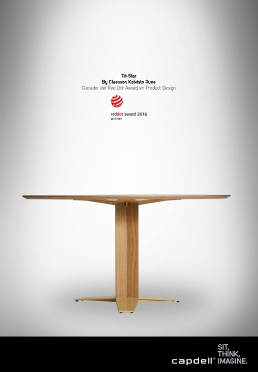 TRI-STAR table by Claesson Koivisto Rune for CAPDELL - RED DOT 2016